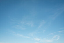 Summer Blue Sky Cloud Gradient Fade White Background. Beauty Clear Cloudy In Sunshine Calm Bright Winter Air Bacground. Wide Vivid Cyan Landscape In Environment Day Outdoor Horizon Skyline Spring Wind