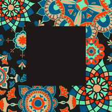 Ethnic Frame Vector Illustration With Floral Pattern, Remixed From Public Domain Artworks