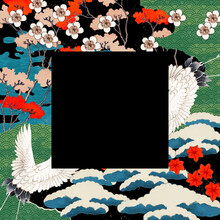 Vintage Japanese Frame Vector Illustration, Remixed From Public Domain Artworks