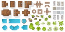 Set Architectoral And Landscape Elements, Top View. Collection Of Houses, Plants, Garden, Trees, Swimming Pools, Outdoor Wooden Furniture, Tile. Flat Vector. Tables, Benches, Chairs. View From Above.