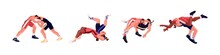 Wrestling Martial Art Set. Fights Between Two Freestyle Wrestlers. Fighter Sparring Set. Opponents In Battle Of Sports Competition. Flat Vector Illustration Of Athletes Isolated On White Background