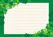 Symbol Of Good Luck. Illustration Of Letter Paper And Letter With Four-leaf Clover Decoration. Menu, Background