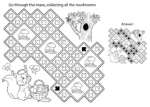 Maze Or Labyrinth Game. Puzzle. Coloring Page Outline Of Cartoon Squirrel With Basket Of Mushrooms. Tree Hollow. Coloring Book For Kids.