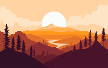 Autumn Mountains Landscape With Tree Silhouettes And River At Sunset. Vector Illustration