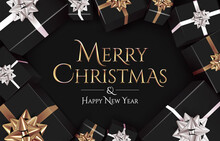 Christmas Banner Design Template With Golden Merry Christmas Text On Dark Background Surrounded Realistic Top View Black Gift Boxes With Golden And White Bows. Luxury Styled Vector Illustration
