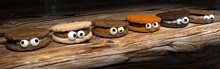 Halloween Monster Cookies With Eyes - 3D Illustration