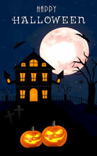 Halloween Full Moon, Banner, Spiders, Haunted House, Pumpkins, Death, Dead Tree, And Bats Portrait Poster
