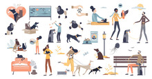 Pets As Domestic Dog, Cat Or Other Animals Caring Tiny Person Collection Set. Elements With House Mammals Walking Or Feeding Mini Scenes Vector Illustration. Adorable And Cute Kitten Or Puppy Items.