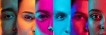 Cropped Portraits Of Group Of Multiethnic People On Multicolored Background In Neon Light. Collage Made Of 6 Models