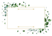 Frame With Branches And Green Leaves. Spring Or Summer Stylized Foliage.