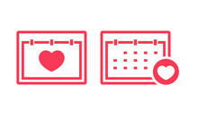 Valentine Day. Calendar Love Heart Icon. Illustration Vector