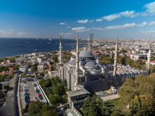 Aerial View On Blue Mosque In Istanbul, Turkey