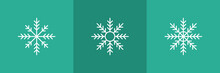 Set Of 3 Snowflakes Icons On Green Background.
