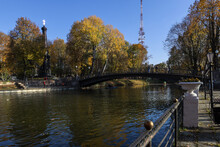 View Of The Bridge In The Garden In Autumn. Yellow Trees In The Park.