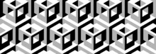 Seamless Vector 3D Pattern With Optical Illusions. Cubes. Op Art. Template For Fabric Or Wrapping. Monochrome. Psychedelic Geometric Background For Cards. Surreal Wallpapers. White And Black. 3D Tiles