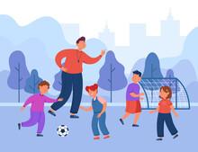 Cartoon Soccer Coach Training Class. Happy Children Playing Football On Field Flat Vector Illustration. School, Sport, Teaching, Outdoor Activities Concept