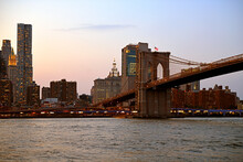 Brooklyn Bridge (1883), Hybrid Cable-stayed Suspension Bridge, At Sunset In New York City. United States