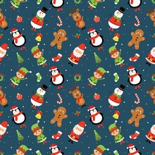 Seamless Pattern With Christmas Characters On Blue Background.
