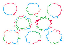 シンプルかわいい3色の手描きふきだしのセット/Simple Cute 3 Color Hand-painted Balloon Set