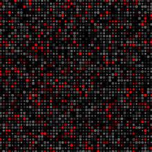 Halftone Black Red Gray Dots Confetti Background.