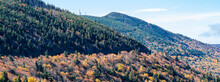 Appalachian Mountains Fall Scenery.  Panoramic View Of Blue Ridge Mountains. Near Asheville, Mount Mitchell State Park, North Carolina, USA. Image For Web Header Or Banner.