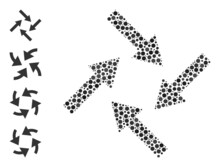 Circle Collage Centripetal Arrows. Vector Collage Is Based On Centripetal Arrows Icon, And Organized Of Randomized Round Items. Vector Icon Of Centripetal Arrows Created Of Irregular Circle Pixels.