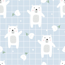 White Bear And Flowers On Square Grid Background Seamless Pattern Hand Drawn Cartoon Animal Background In Children Style Used For Print, Wallpaper, Decoration, Fabric, Textile, Vector Illustration