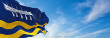 Flag Of St Annes On Sea Town At Cloudy Sky Background On Sunset,