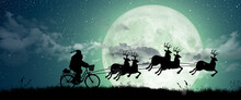 Silhouette Of Santa Claus Get A Move To Ride On Their Reindeer Over Full Moon At Night Christmas. Merry Christmas And Happy Holiday.