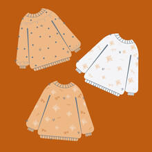 An Illustration Of Their Three Christmas Sweaters On An Orange Background