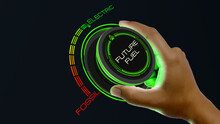 Electric Fuel Concept Electric Fuel Concept With Knob Button Changing Fossil To Electric And Reverse