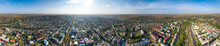 Elista, Russia. Panorama Of The City In The Morning. Aerial View. Parorama 360