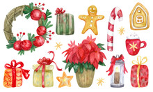 Set With Christmas Decorations, Sweets And Flowers. Hand Painted Watercolor Illustration. Great For Greeting Cards.  Xmas Design.