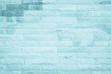 Pastel Blue And White Brick Wall Texture Background. Brickwork Painted Of Blue Color Interior Design Stack.