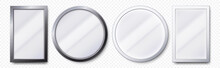 Realistic Mirrors. Metal Round And Rectangular Mirror Frame, White Mirrors Template 3D Vector Set