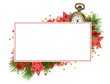 White Card With Red Frame And Christmas Decorations On White