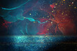 canvas print picture - abstract red, blue, gold and black defocused background. bokeh lights