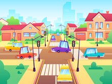 Crossroad With Cars. City Suburb Traffic Jam, Street Crosswalk With Traffic Lights And Road Intersection Cartoon Vector Illustration