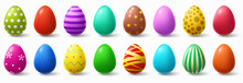 Colorful Easter Eggs. Holiday Chicken Egg Decor, Easter Patterns Realistic Isolated Vector Illustration Set