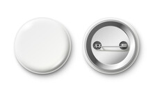 Blank Button Badge. White Pinback Badges, Pin Button And Pinned Back Realistic Isolated Vector Mockup
