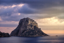 Scenic Es Vedra Island In Spain At Sunset