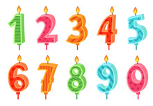 Cartoon Anniversary Numbers Candle. Celebration Cake Candles Burning Lights, Birthday Number And Party Candle Vector Set