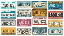 Car Number License Plate. Retro USA Cars Registration Number Signs, Texas, Wisconsin And Kansas License Plates Vector Illustration Set