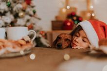 Little Girl In A Santa Hat And A Dwarf Dachshund Want To Eat A Plate Of Pastries And A Christmas Cake Standing On The Table In The Kitchen Decorated For The New Year. Family Tea Party. Place For Text