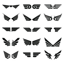 Various Shapes Monocrome Wings Logo With An Abstract Style, Adding Inspiration In Making A Logo By Combining Several Design Elements