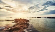 Scenic Sunset At A Rocky Beach In Bentota, Sri Lanka.