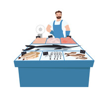 Seller Of Fresh Fish. Fish Shop. Seafood. Vector Illustration On A White Background.