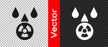 Black Acid Rain And Radioactive Cloud Icon Isolated On Transparent Background. Effects Of Toxic Air Pollution On The Environment. Vector