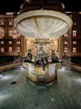Ganymede Fountain From 1888 At Night, Bratislava, Slovakia