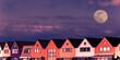 canvas print picture - Häuserreihe in Holland am Abend mit Vollmond